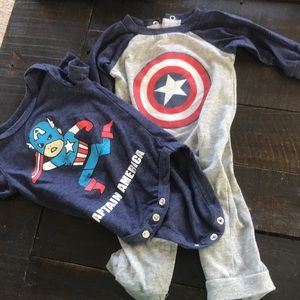 Marvel captain America onesie and pajamas